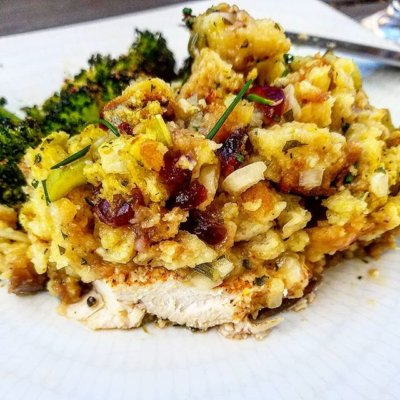 Cranberry Stuffing Topped Chicken