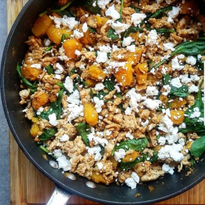 Spiced Turkey and Butternut Squash Skillet with Goat Cheese