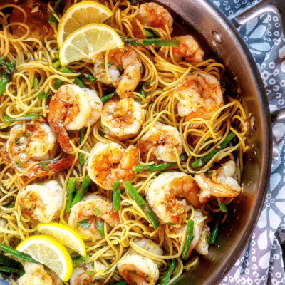 Lemon Garlic Shrimp Pasta